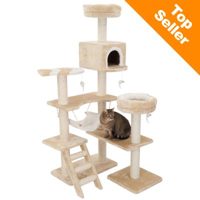 Gingerbread House Cat Tree - beige