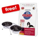 Large Bags Hills Science Plan + Dual Steel Dog Bowls Free! - Puppy Healthy Development Medium with Chicken (12 kg) - Pet Supplies