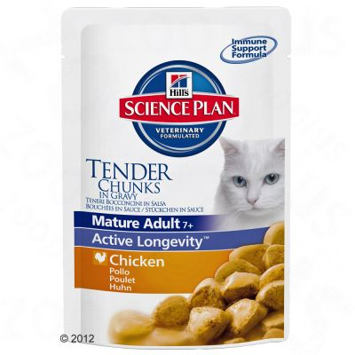 Science Plan Feline Mature Adult 7 + Tender Chunks in Gravy - Mature Adult Chicken 6 x 100 g