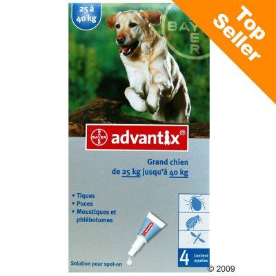 Advantix pour chien de grande taille - 25/40 kg- 4 pipettes