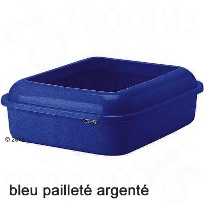 Bac à litière pour chat avec rebord Gimpet Katsy- bleu pailleté argenté