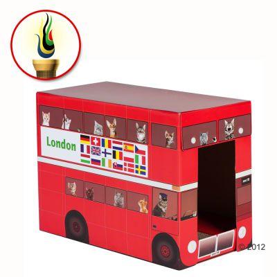 Pets London Bus Cat Den with Scratch Pad - 49 x 25 x 36 cm (L x W x H)