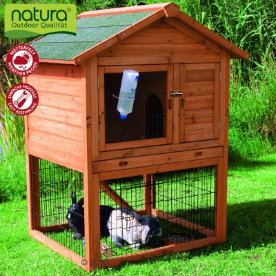 Trixie Natura Double Decker Rabbit Hutch & Run - 96 x 78 x 120 cm (L x W x H)