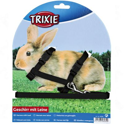 Parure harnais et laisse Trixie pour lapin - noir