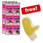 12 x 400 g Feline Porta 21 + Grooming Glove Free! - Chicken with Rice - Sensitive