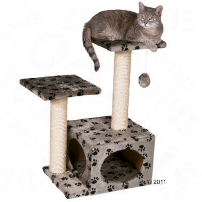 Trixie Valencia Cat Tree  - grey with paw pattern