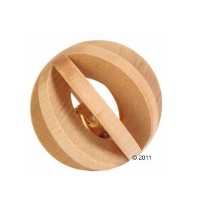 Balle en bois pour rongeur avec grelot- 6 cm de diamètre