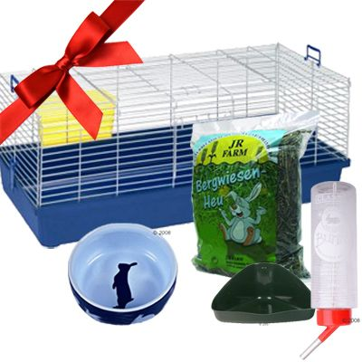 Gift Set: Cage & Accessories for Dwarf Rabbits & Guinea Pigs - 5-piece set for Dwarf Rabbits