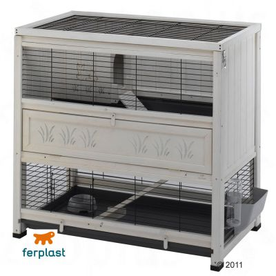 Ferplast Wooden Cottage - Indoor Rabbit Hutch - White: 108 x 59 x 102.5 cm (L x W x H) - 2 packages