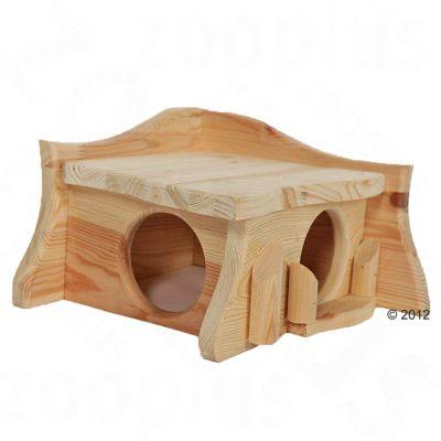 Maisonnette en bois massif Pavillon pour rongeur - L 38 x l 31 x H 20 cm