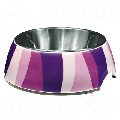 Catit Purple Zebra Cat Bowl, melamine & stainless steel - 160 ml, diameter 11 cm