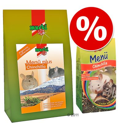 Mascotas - Set para ratas Mucki Menú plus Chinchilla - - 1 + 3 kg
