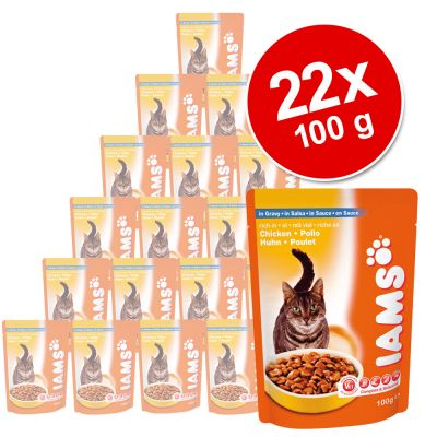 Iams Wet Cat food Pouches Saver Pack 22 x 100g - Salmon in Gravy