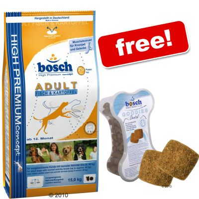 15 kg Bosch Dry Dog Food +  Bosch Goodies Dental Free! - Junior Medium