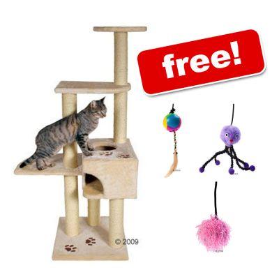 Trixie Alicante Cat Tree + 3 Karlie Cat Tree Fun Toys Free! - Anthracite