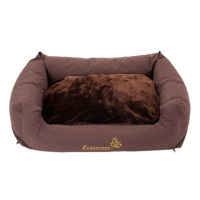 Dog Bed SnooZzze brown with Cushion - 80 x 65 x 30 cm (L x W x H)