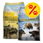 Blandat dubbelpackpack: 2 x 13 kg Taste of the Wild hundfoder!