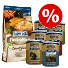 Flocons Happy Dog 3 kg + boîtes Happy Dog Pur 6 x 400 g