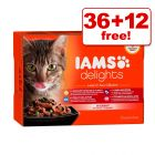 85g IAMS Delights Wet Cat Food Pouches - 36 + 12 Free!*