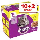 100g Whiskas 1+ Pouches Wet Cat Food - 10 + 2 Free!*