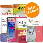 Gemischtes Pouchpaket, 6 Marken: Miamor, Schesir, Applaws, MAC's, Almo Nature Orange, Porta 21