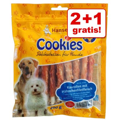 2 + 1 gratis! 3 x 200 g Cookie's Delikatess rotolo strisce di filetto di pollo