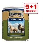 5 + 1 gratis! 6 x 800 g Happy Dog Pur