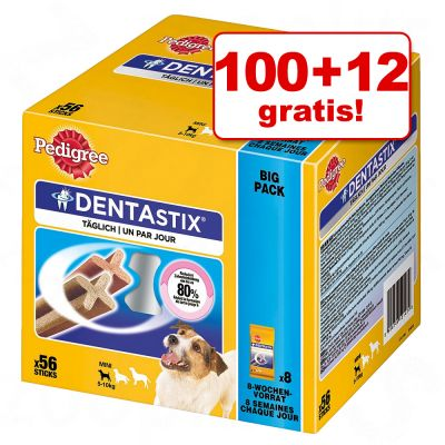 100 + 12 gratis! 112 x Pedigree Dentastix/ Dentastix Fresh