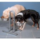 Height-adjustable Dog Bowl Stand with Stainless Steel Bowls