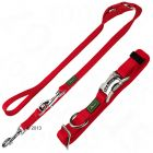Hunter Set: Halsband Vario Basic + Hundeleine, rot