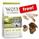 12kg Wolf of Wilderness Dry Dog Food + Natural Cow & Rabbit Ear Snacks Free!*