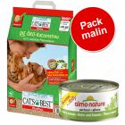Pack malin : 20 L de litière Cat's Best Öko Plus + 48 x 70 g de Almo Nature Legend