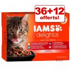 Sachets Iams Delights Adult Terre & Mer 36 x 85 g + 12 sachets offerts !