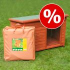 Set: Woody Dog Cabin (incl. Plastic Door) + Insulation Mat
