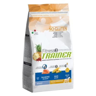 Trainer Fitness 3 Adult Medium/Maxi No Gluten Salmone & Mais