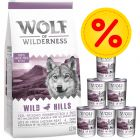 Wolf of Wilderness Adult 12 kg Trockenfutter + 6 x 400 g / 6 x 800 g Nassfutter