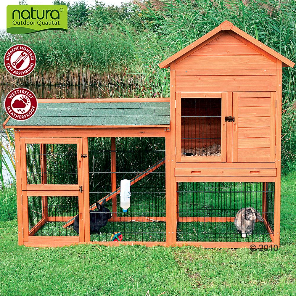 This hutch provides an ideal opportunity for exercise at all times for rabbits and guinea pigs