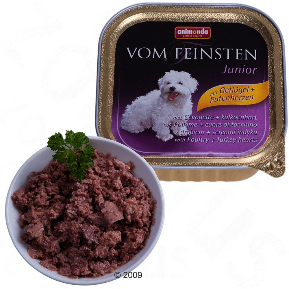 Animonda vom Feinsten Junior dog food in practical individually portioned trays for puppies over 5 weeks of age and young growing dogs of particularly small breeds