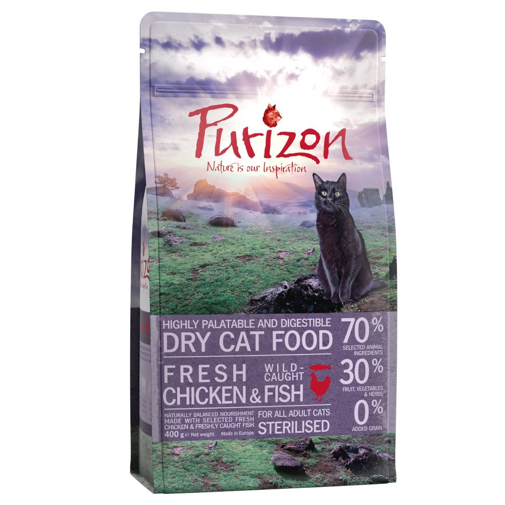Purizon Adult Sterilised poulet, poisson - sans céréales pour chat, 400 g