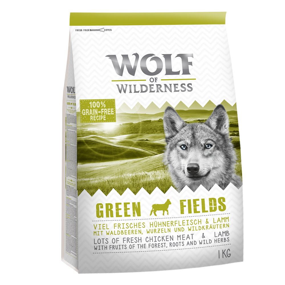Wolf of Wilderness Green Fields, agneau pour chien, 1 kg