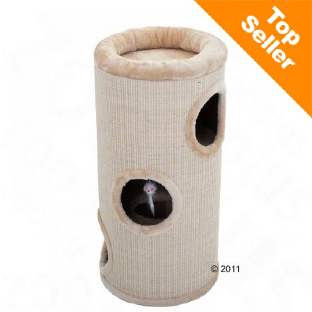 This climbing barrel with a total of three openings is sure to become a favorite with your cat