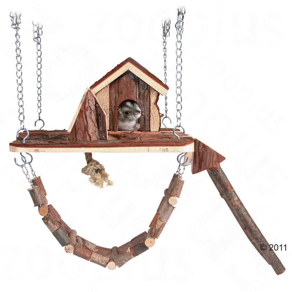 This hanging house is sure to be the hit in your small pet's cage