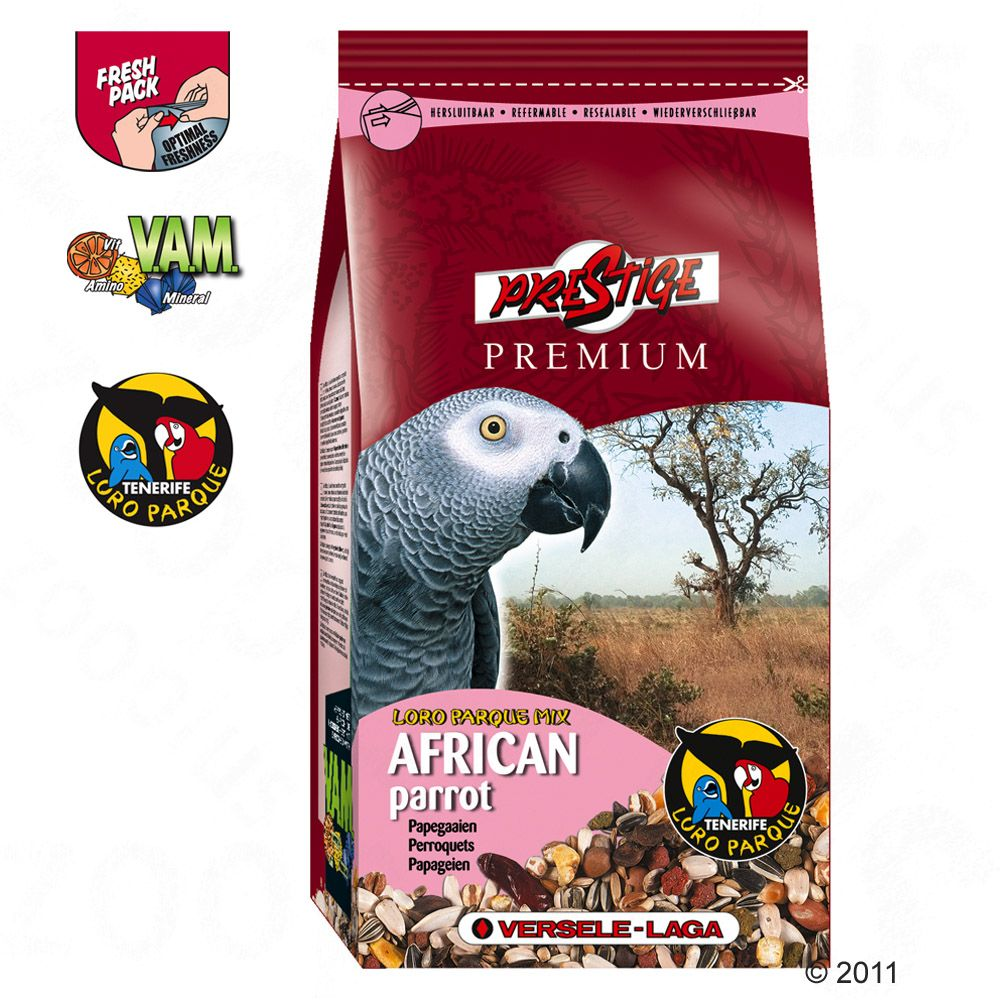 Prestige Premium African Parrot is an enriched seed mixture with extra nutrients specifically formulated for African parrots such as grey parrots red-fronted parrots and red-bellied parrots