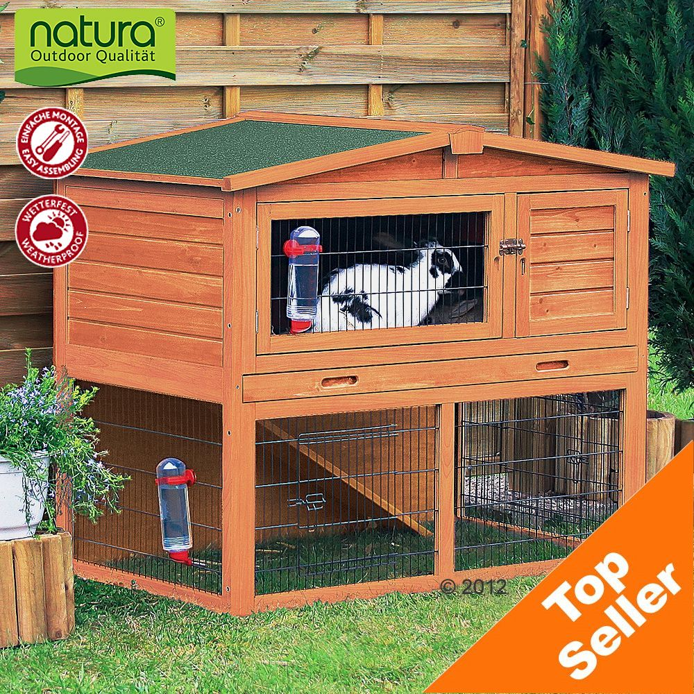 The Trixie Natura Giant Hutch & Run with pitched roof will not look out of place in your garden