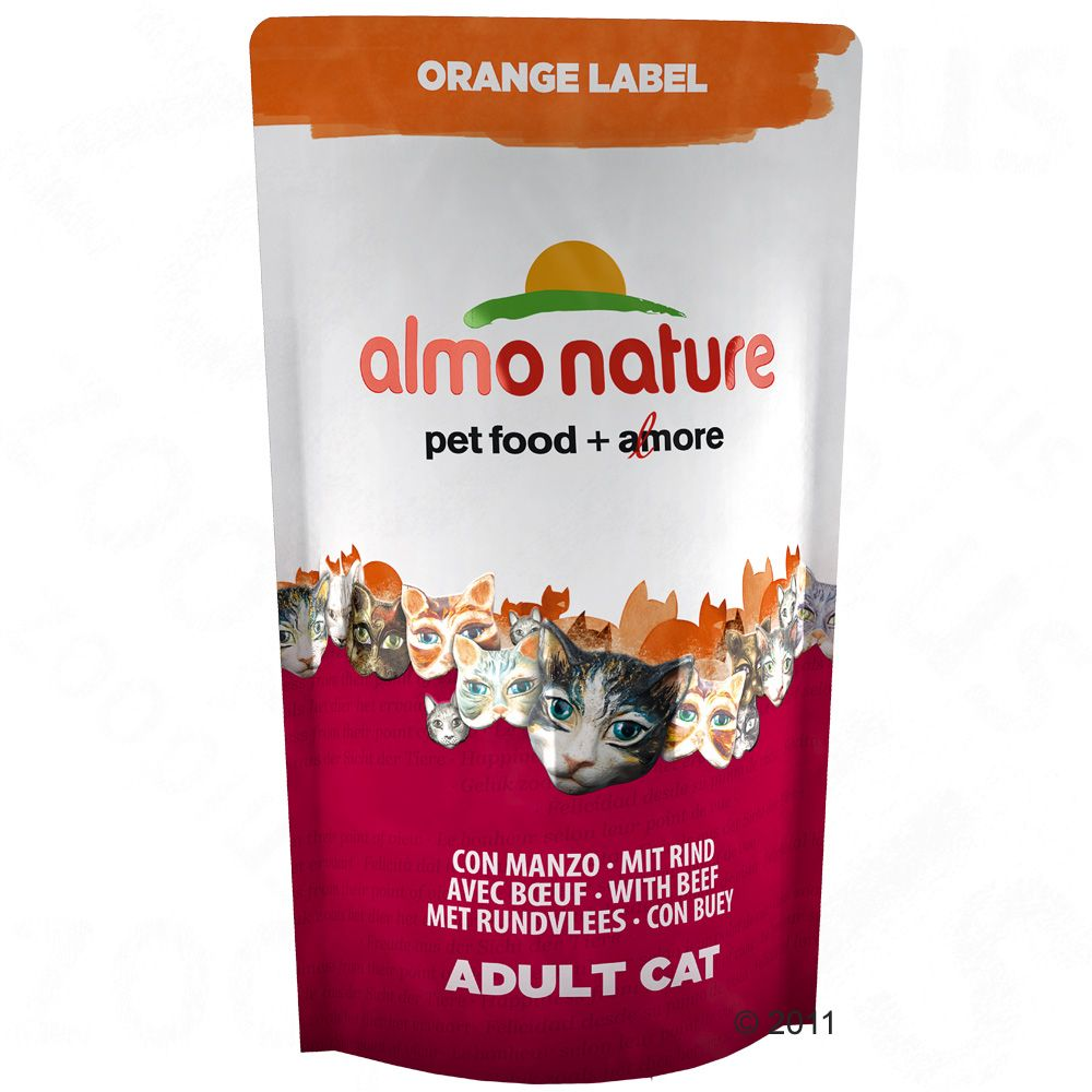 Almo Nature Orange Label Adult Beef is a balanced complete food for adult cats